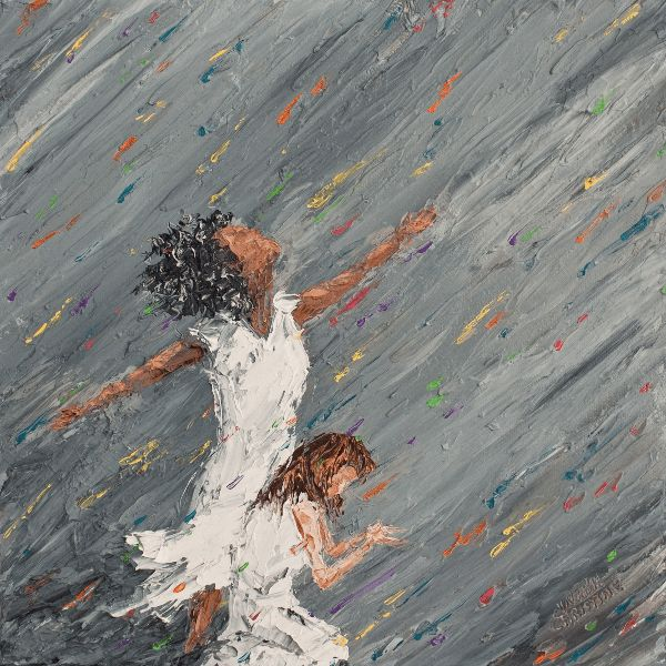 """Drops of healing joy in the midst of """"grayness"""", precious indeed. 12"""" x 12""""(30cm x 30cm) Colors of Cynthia Christine"""
