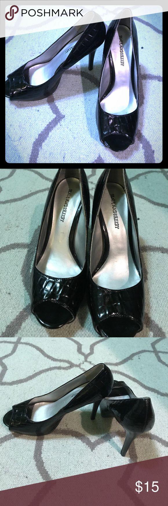 Blair and Shelby Black Peep Toe Heels Blair and Shelby Black Peep Toe Heels Blair and Shelby Shoes Heels
