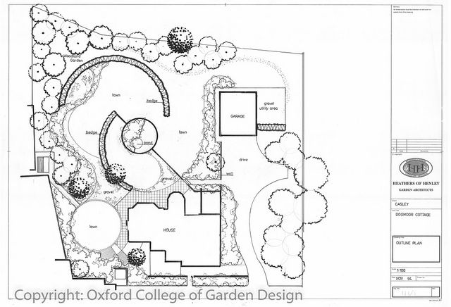 Modern country garden using concentric circular design, gravel paths yew hedges, pond, levels, lawn planting