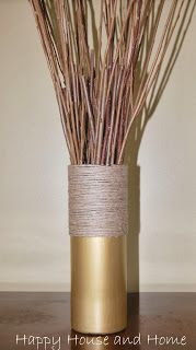 A plain glass dollar store vase was upcycled!  # twine craft #vase #upcycle