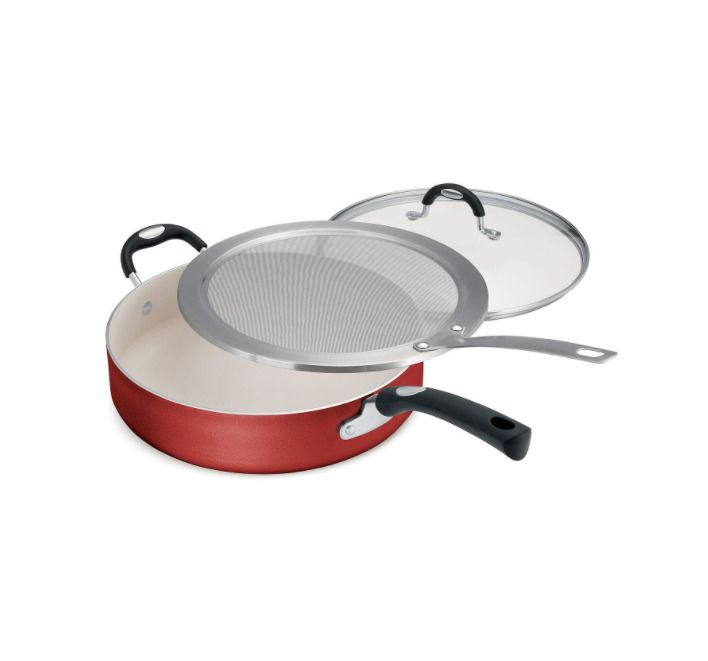 Saute Pan, Lid and Splatter Screen. Large NonStick Heavy Aluminum Saute Pan. This 5.5 quart nonstick saute pan is great for frying, sautéing, searing, browning, deglazing and braising. The tempered glass lid allows you to view what is cooking while the stainless steel splatter guard allows steam to escape from the pan for simmering and reducing liquid.   eBay!
