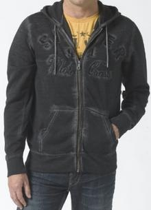 Zip fleece hoody with SILVER logo Moto Cross detail on front in distressed tone of black and navy.  ​$76.96
