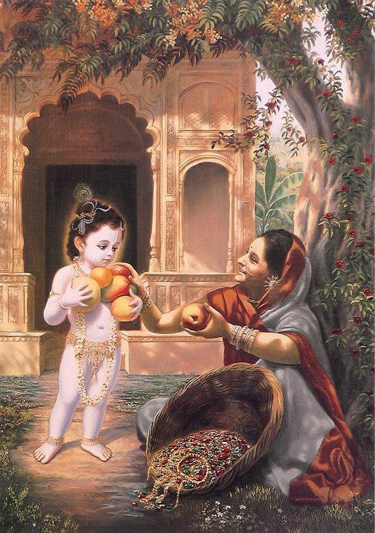 """""""One day a fruit vendor approached Lord Krishna's house, and the little toddler Krishna gathered some food grains with His little palms and went to the vendor to exchange the grains for fruit. On the way, almost all the grains fell from His palms, only one or two grains remaining, but the fruit vendor, out of full affection, accepted these grains in exchange for as much fruit as Krishna could take. As soon as she did this, her basket became filled with gold and jewels."""" - Srimad-Bhagavatam…"""