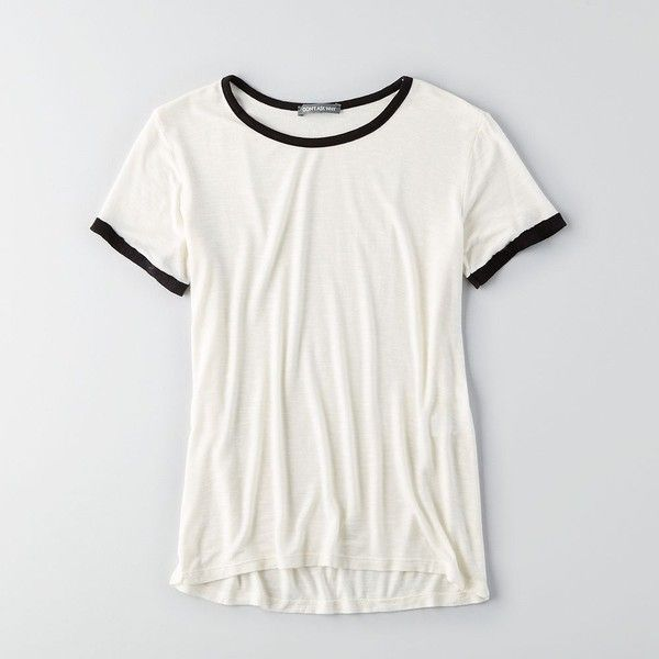 AEO Don't Ask Why Ringer T-Shirt (£20) ❤ liked on Polyvore featuring tops, t-shirts, white, american eagle outfitters, white crew neck tee, white crew neck t shirt, crewneck t-shirt and white tee