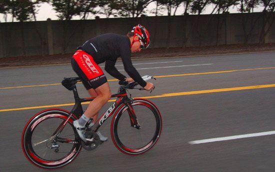 Tom Demerly riding Felt triathlon bike at Ford Motor Company proving ground in Dearborn, Michigan. #inlandempire #sunriseford #southerncalifornia