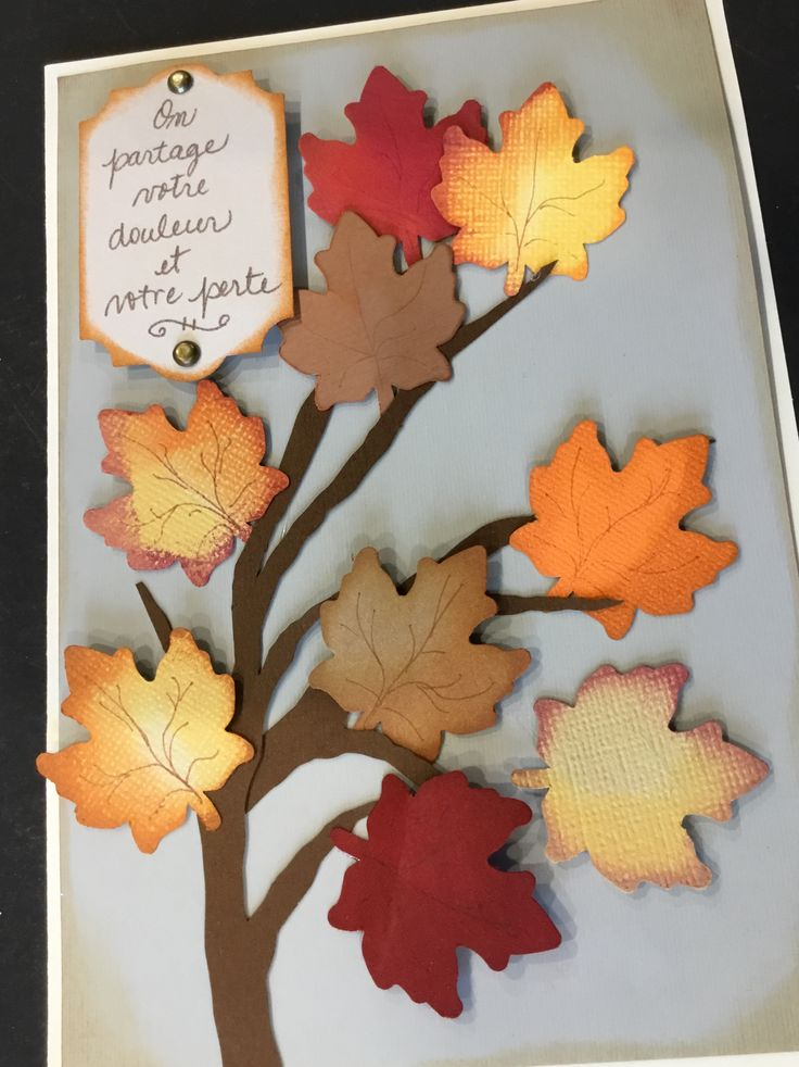 Branch with autumn colour leaves sympathy card sympathy