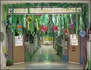 fellowship hall, sanctuary, classrooms    green crept paper with paper flowers and paper leaves...and maybe a monkey or snake or two
