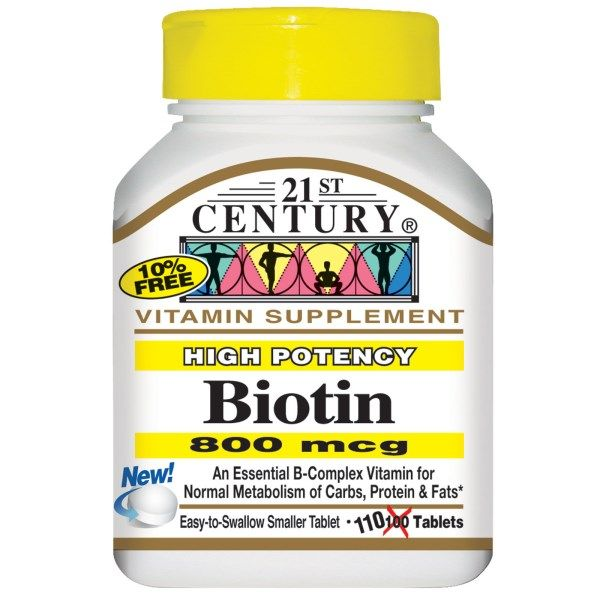 21st Century, Biotin, High Potency, 800 mcg, 110 Tablets