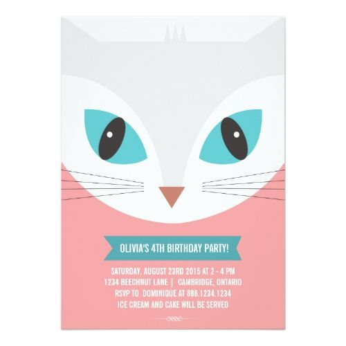120 best cat birthday invitations images on pinterest birthday whimsical cat kids birthday party invitation filmwisefo