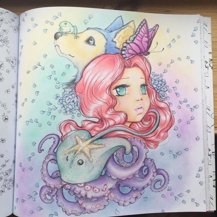 Red hair popmangacoloringbook coloringforadults manga, love mandala coloring pages