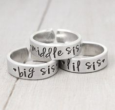 Sisters Rings, Sisters Jewelry, Big Sister Ring, Little Sister Ring