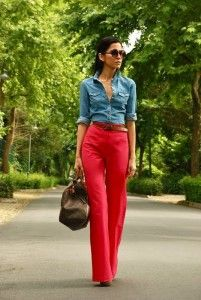 Denim shirt with red pants and brown belt and handbag. Learn how to wear denim this fall 2015 >>> http://justbestylish.com/how-to-wear-denim-this-fall-2015/