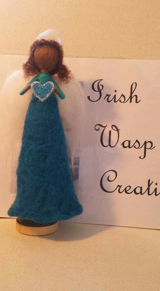 Hand felted Christmas Angel. For more check out the Irish Wasp Creations Facebook page.