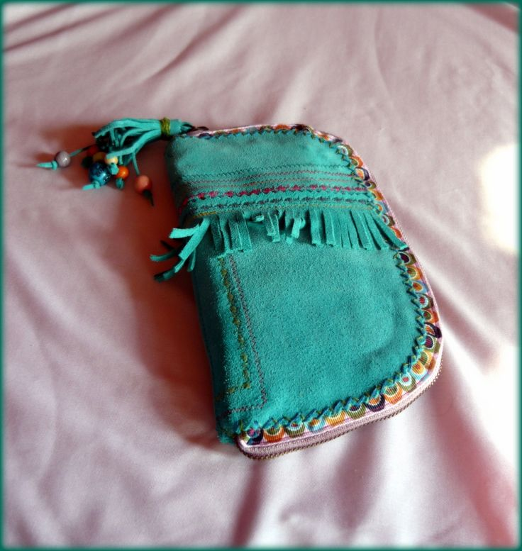 Handmade by Judy Majoros - Turquoise leather fringe wallet -clutch