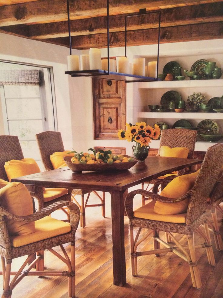 Nice Wood Floors, Wood Beams On Ceiling, Collection Of Green Plates On Built In,  · Farmhouse Dining TablesDining ... Pictures