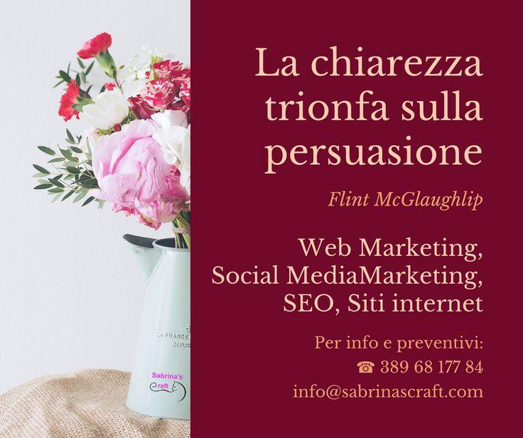 La chiarezza trionfa sulla persuasione. Cit. Web Marketing, Social MediaMarketing, SEO, Siti internet  Per info e preventivi: ☎ 389 68 177 84 ✉ info@sabrinascraft.com Chiedere non costa nulla! ;)  #Amelia #WebAgency #SabrinasCraft #SocialMediaMarketing #WebMarketing #SEO #GraficaPubblicitaria #Pubblicita #SocialNetwork #RealizzazioneSitiInternet #SMM #Terni #Viterbo #Roma #Rieti #Perugia #Italia