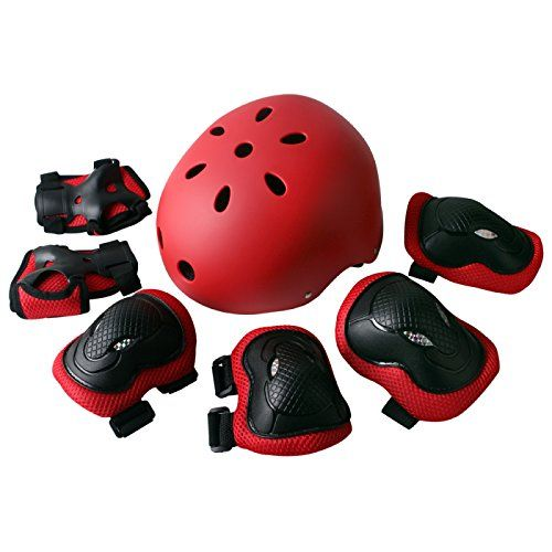 Rayhome Sports Protective Gear Skating Knee Elbow Support Pads Set outdoors Safety Protection for Scooter Skateboard Bicycle Rollerblades Red >>> See this great product.