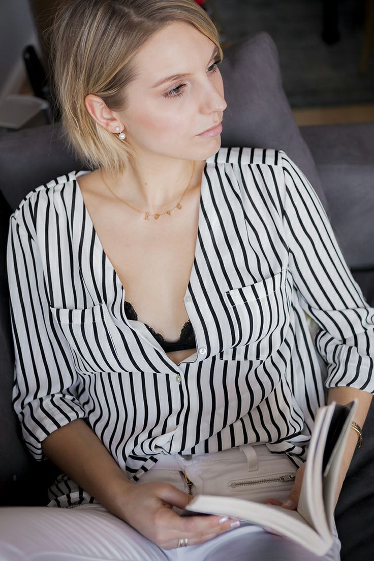 H&m Striped Shirt, Chic Peek Love Chain Necklace, @asos Double Pearl
