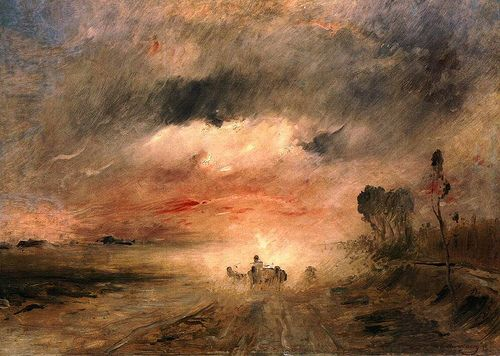Munkacsy, Mihaly (1844-1900) - 1883 Dusty Country Road II (Hungarian National Gallery, Budapest)