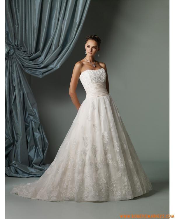 Robe de mariée princesse organza applications