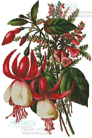 Artecy Cross Stitch. Fuschia 3 Cross Stitch Pattern to print online.
