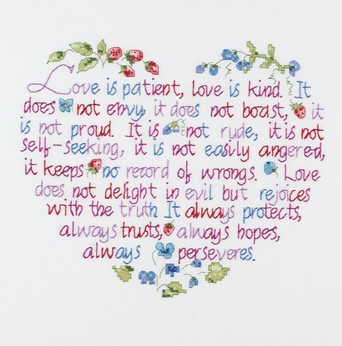 Janlynn Stamped Cross Stitch Kit, Love Is Patient - Cross Stitch Pattern