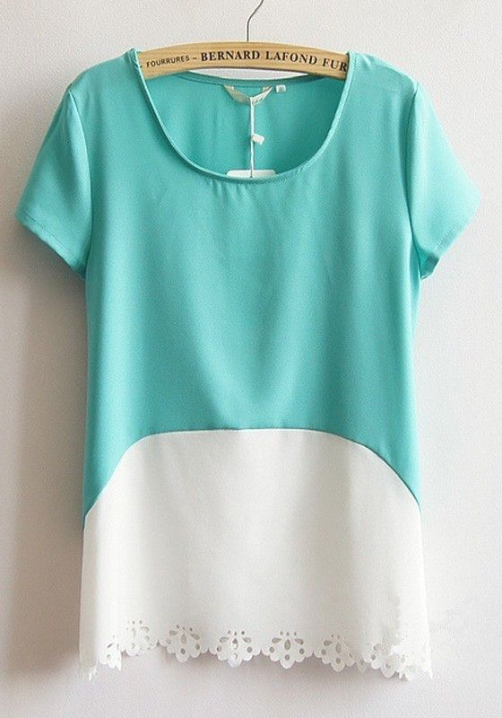 Love the lace hem and color blockibng, a t shirt with something extra!  Green Patchwork Short Sleeve Loose Flax Blend T-Shirt