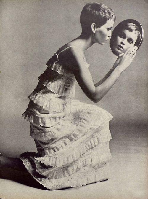 Another interesting Mia Farrow shot. | Richard Avedon #photography | Vogue 1966 | via tumblr