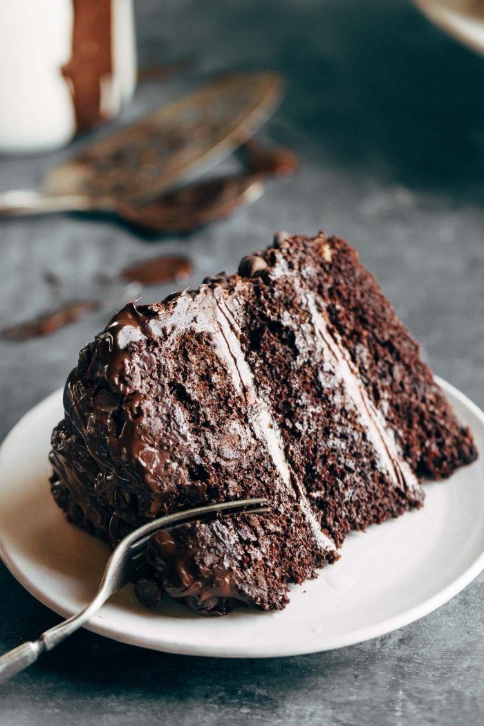 Schokokuchen Rezept Einfach Und Schnell Weißer Teller Stück Torte