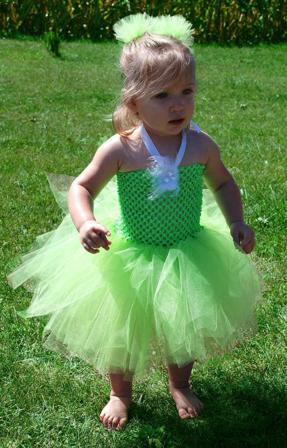 Tinkerbell Crochet Tutu Halter Dress And Matching Hair Puff Clips - Size 2T to 4T. $24.00, via Etsy.