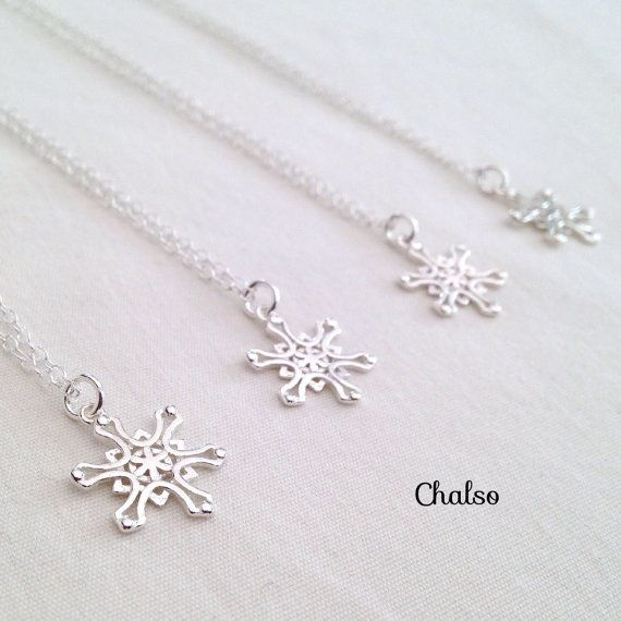 Sterling silver snowflake necklace, set of 4 snowflake necklaces, winter wedding ideas, flower girl gifts, frozen necklace