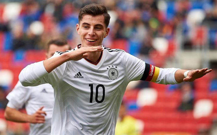 Download wallpapers Kai Havertz, 4k, german footballers, match, German National Team, soccer