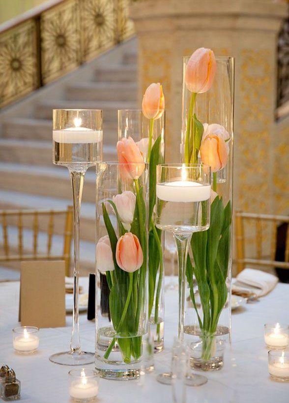 Tulips centrepieces.  Glamorous Wedding Ideas with Stunning Decor - MODwedding