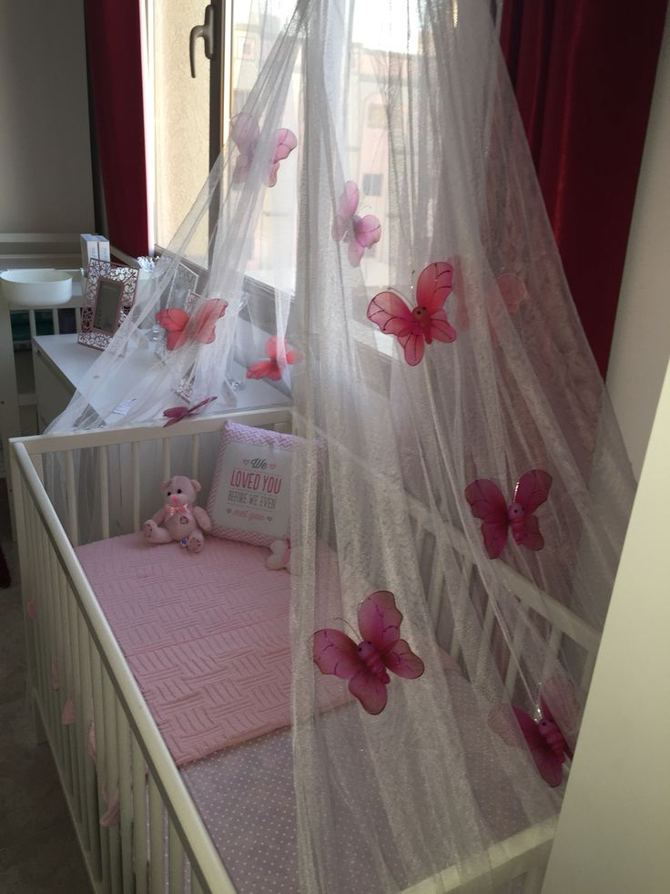 Make your own crib canopy using an IKEA mosquito net and net butterflies from the garden centre!