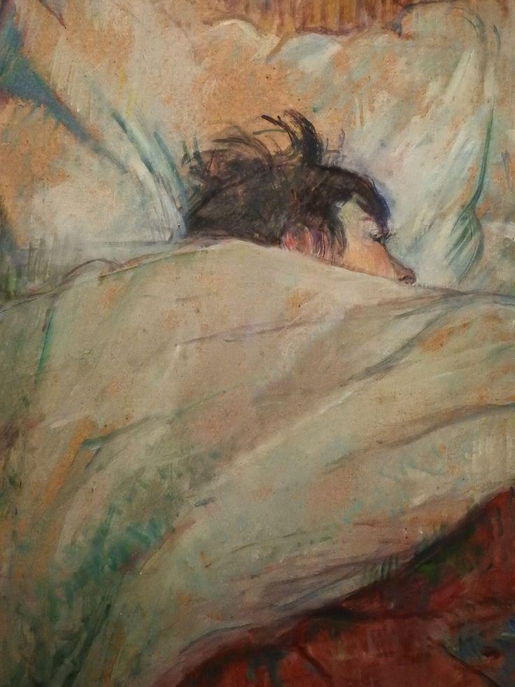 """TOULOUSE-LAUTREC (de) Henri,1892 - Le Lit (Orsay) - Detail -g   -   TAGS : details détail détails painting paintings peinture peintures 19th 19e """"peinture 19e"""" """"19th-century paintings"""" """"19th century"""" """"details of painting"""" """"details of paintings"""" woman women """"jeune femme"""" """"young woman"""" fille jeunesse youth girl """"young girl"""" """"jeune fille"""" white jeune young """"jeune homme"""" """"young man"""" couple amour amoureux love lovers lit bed sommeil rest repos sleep adorable face visage beauté beauty cut sweet…"""