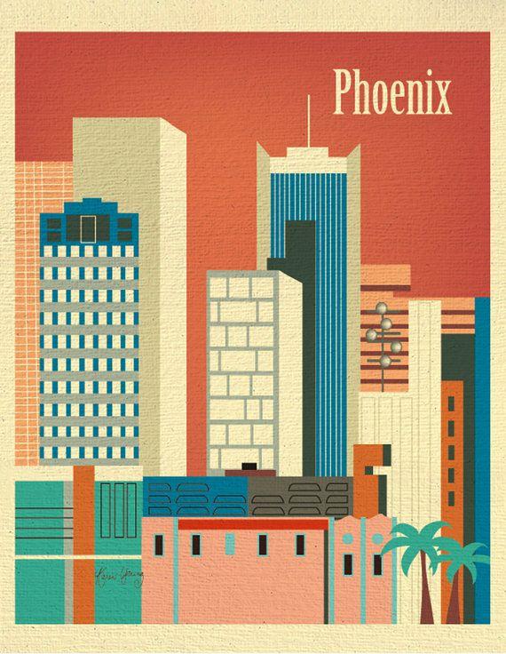 Phoenix, Arizona Downtown Skyline Retro Art Print for Home, Nursery Rooms, or  Office - E8-O-PHE