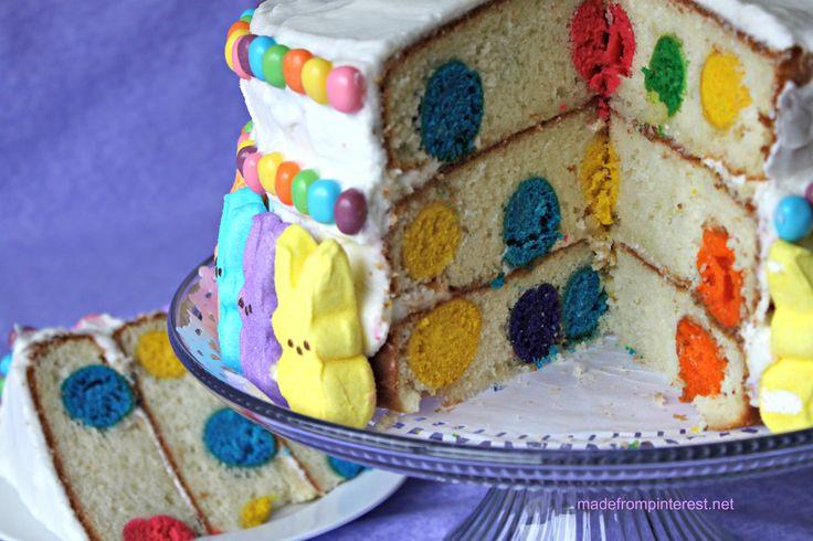 Make This Adorable Easter Peeps Polka Dot Cake