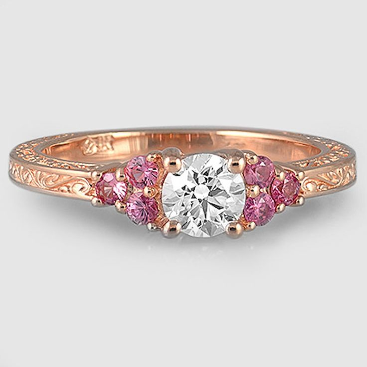 14K Rose Gold Adorned Trio Diamond Ring // Set with a 0.47 Carat, Round, Super Ideal Cut, H Color, VS1 Clarity Diamond (Modified with Custom Accent Gems) #BrilliantEarth