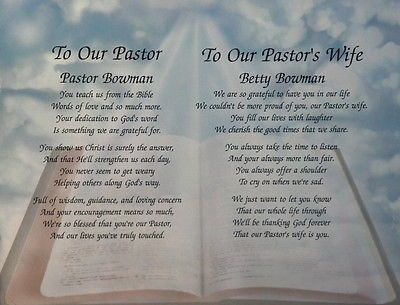 PASTOR & WIFE PERSONALIZED POEMS GIFT FOR PASTOR APPRECIATION FOR CHURCH