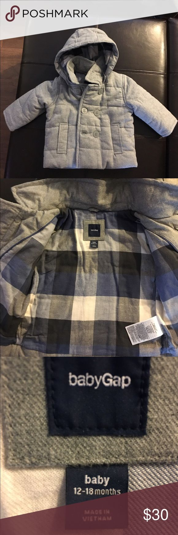NWOT Baby Gap Jacket Super soft and warm heather grey Baby Gap jacket with grey and blue plaid lining. You can take the hood off. Never worn, bought for my son, and took the tags off, but by the time we needed it, he already grew out of it. My loss, your gain!! 12-18 months but is a I say it fits more like 18 month size. GAP Jackets & Coats Pea Coats