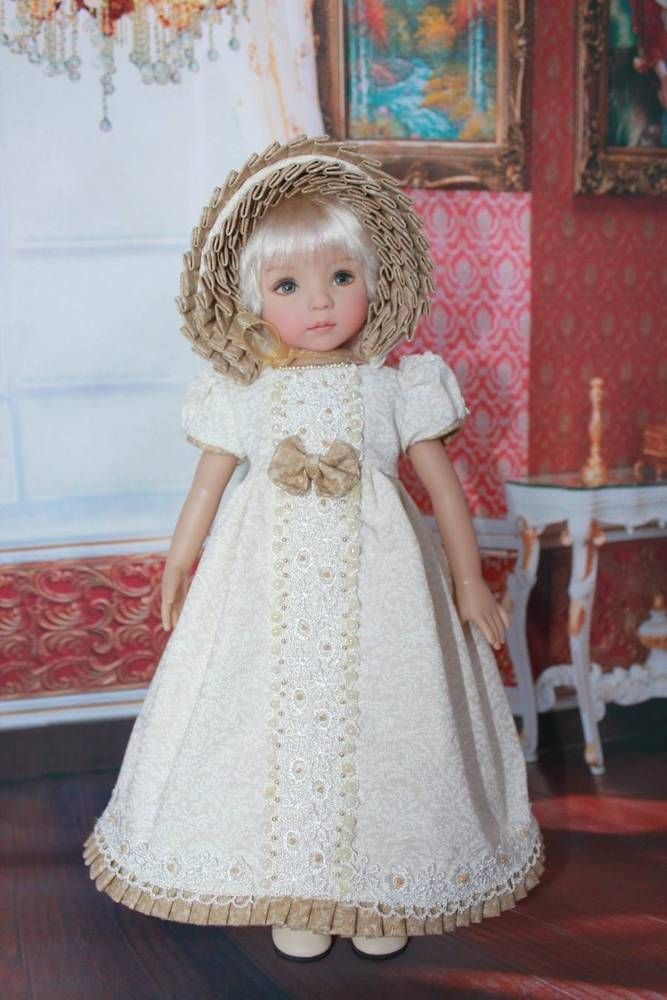 "Dianna Effner's 13"" Little Darling dolls and added my own personal little touches. Fit: This fit's Dianna Effner's 13"" Little Darlings andsimilar dolls. Gown, Pantaloons, Socks and Bonnet. From a smoke-free & pet free environment. 