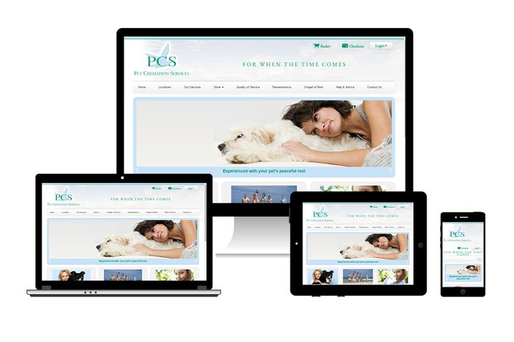Pet Cremation Services (PCS) responsive adaptation demonstration on various internet enabled devices - desktop, tablet and mobile.