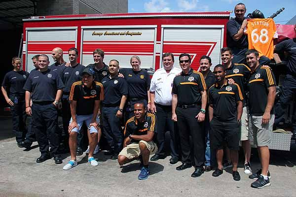 Houston Dynamo players visit local fire stations