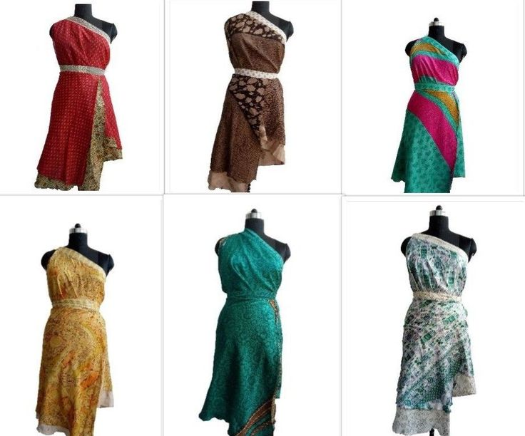 Assorted 5 PC Indian Vintage Silk Sari Wrap Around Skirt Reversible Beach Wear  #Handmade #Sarong #CausallyPartyWear