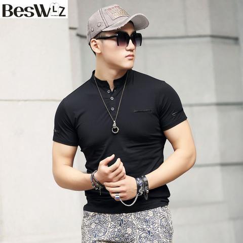 Men T Shirts Short Sleeve Mandarin Collar Summer New Arrival Cotton Slim Men Tops Tees Shirts Solid Color T-Shirts Men Hot 6951 - Hespirides Gifts - 1