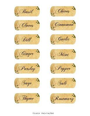 PaisleyCatScraps Free Blog Layouts: Spice Jar Labels
