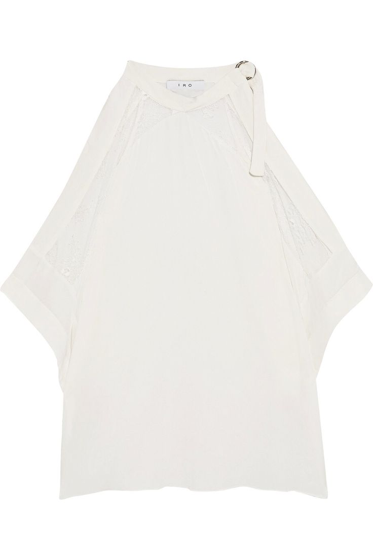 IRO COLD-SHOULDER CORDED LACE-TRIMMED CREPE DE CHINE TOP  GBP66 http://www.theoutnet.com/product/1022112