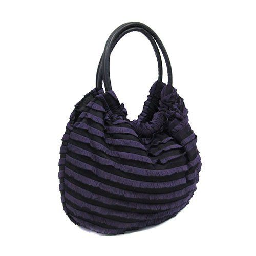 "Hbg 100003 Ruffled Layer Handbag Purple by Arif's Collection. $1.00. handbag. Size: 17"" W x 19"" H x 5.5"" Deep Color: Purple, black Style: Zipper top handbag. Exterior is layered and ruffled, and comes with two leather like handles. Interior is made of a nylon like material, and has one zipper pocket, and two open pockets."