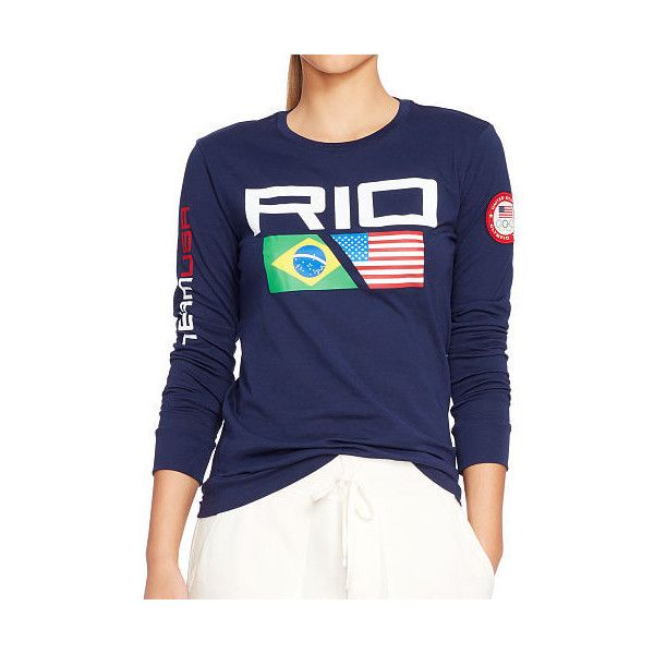 Polo Ralph Lauren Team Usa Rio Jersey Tee ($65) ❤ liked on Polyvore featuring tops, t-shirts, blue long sleeve t shirt, blue t shirt, long sleeve t shirt, long sleeve crew tee and jersey t shirts
