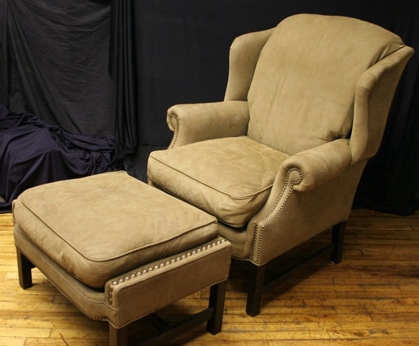 Soft Executive  Wing Back Chippendale Style Lounge Arm Chair w/Ottoman. $599.99, via Etsy.